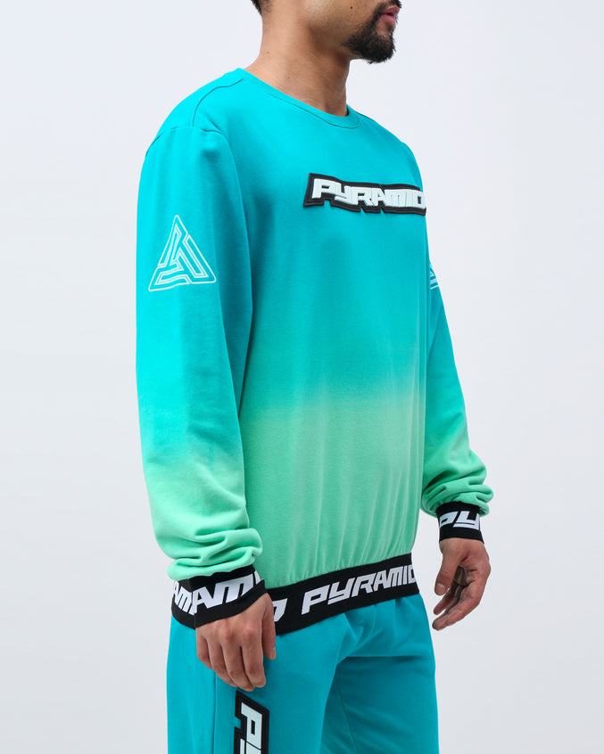 DIP DYE PASTEL CREW - Color: GREEN