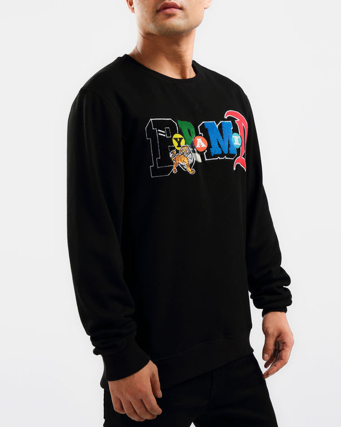 BIG AND TALL COLLAGE TYPE CREWNECK-COLOR: BLACK