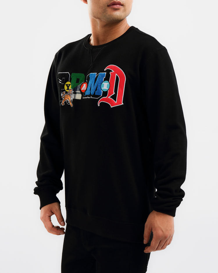 COLLAGE TYPE CREWNECK-COLOR: BLACK