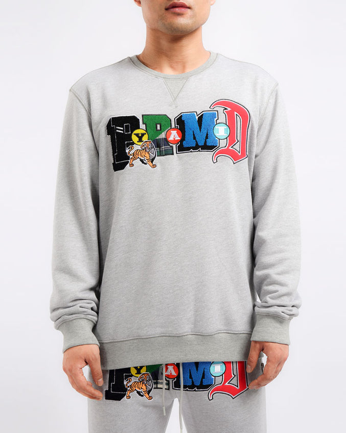 BIG AND TALL COLLAGE TYPE CREWNECK-COLOR: HEATHER GRAY
