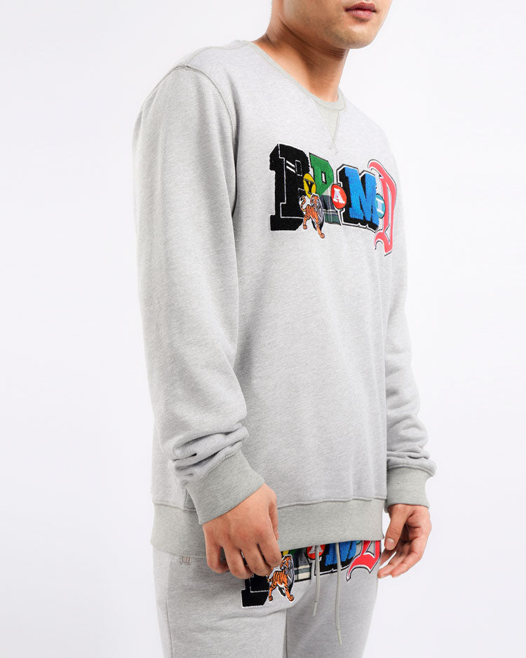 COLLAGE TYPE CREWNECK-COLOR: HEATHER GRAY