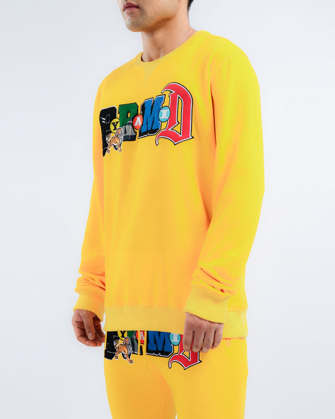 COLLAGE TYPE CREWNECK-COLOR: YELLOW