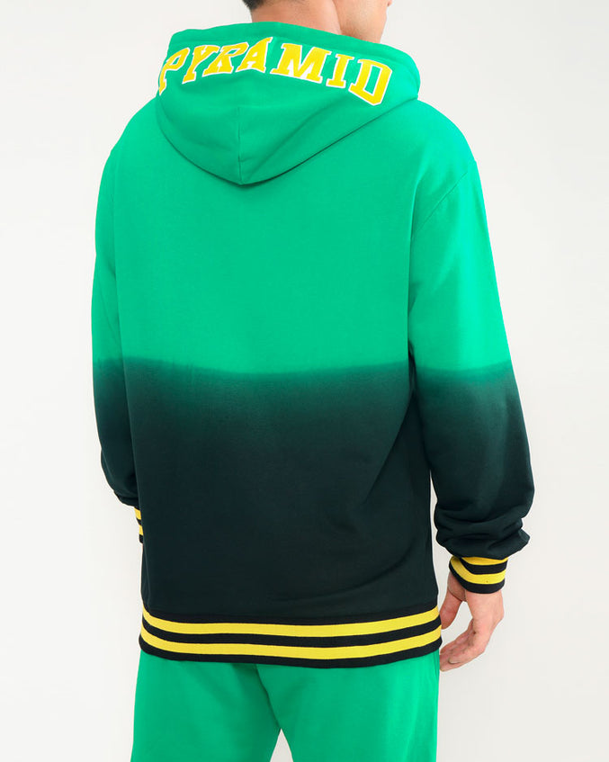 DIE DYE VARSITY HOODY-COLOR: GREEN
