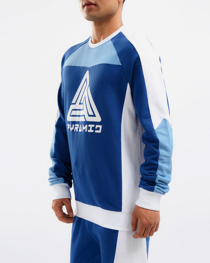 RACER BLOCKED CREWNECK-COLOR: BLUE