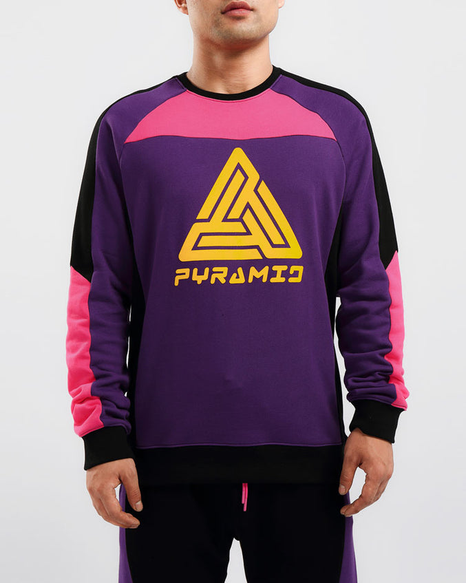 RACER BLOCKED CREWNECK-COLOR: MULTI COLOR