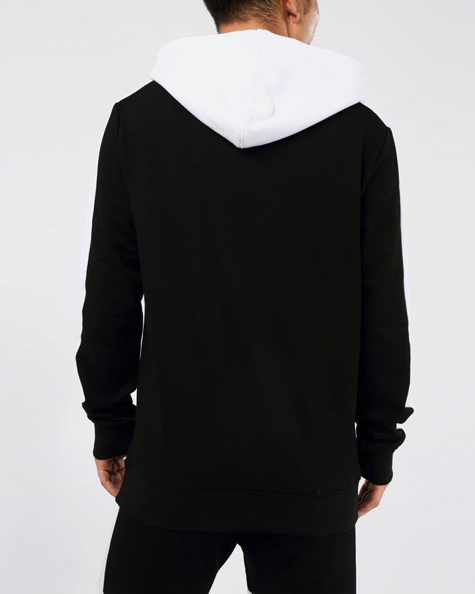 CENTER STRIPE HOODY-COLOR: BLACK