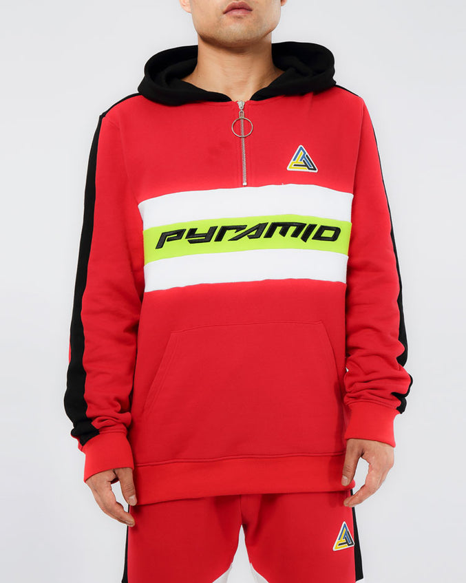 CENTER STRIPE HOODY-COLOR: RED