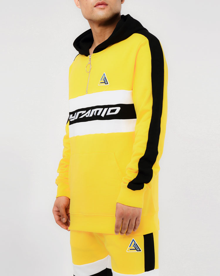 CENTER STRIPE HOODY-COLOR: YELLOW