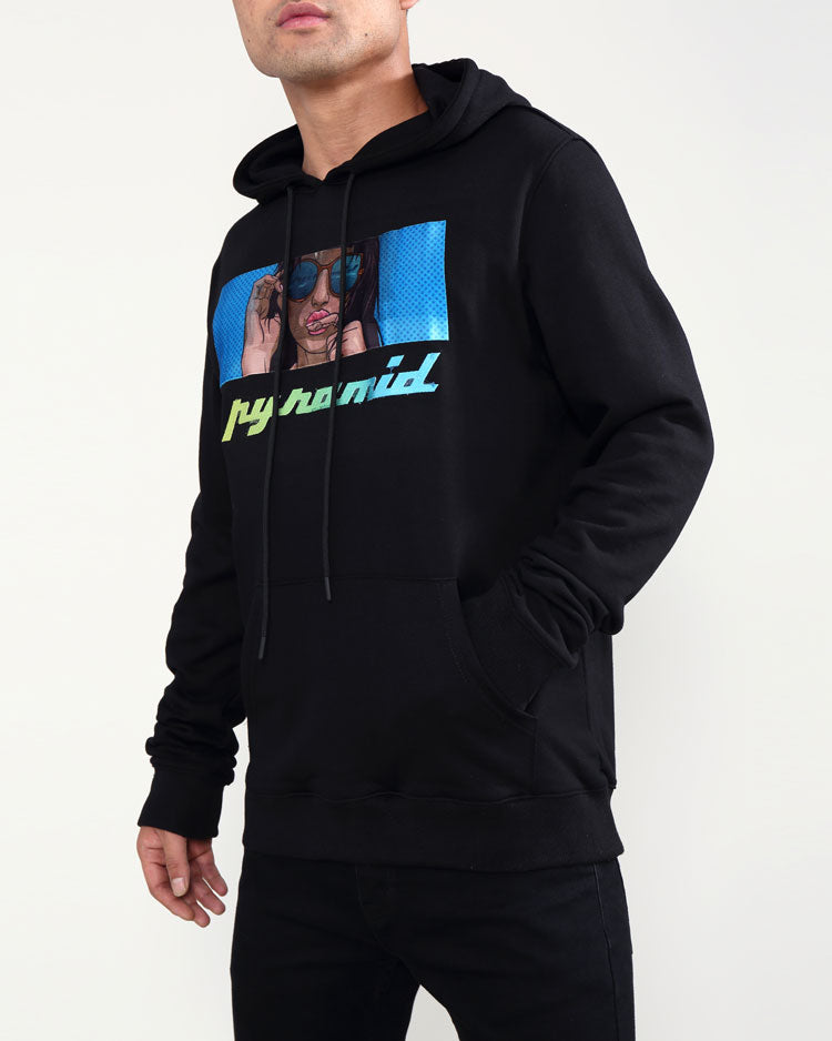 TATTED GIRL HOODY-COLOR: BLACK