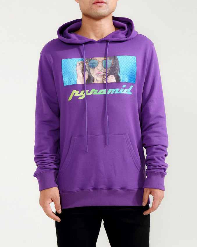 TATTED GIRL HOODY-COLOR: PURPLE