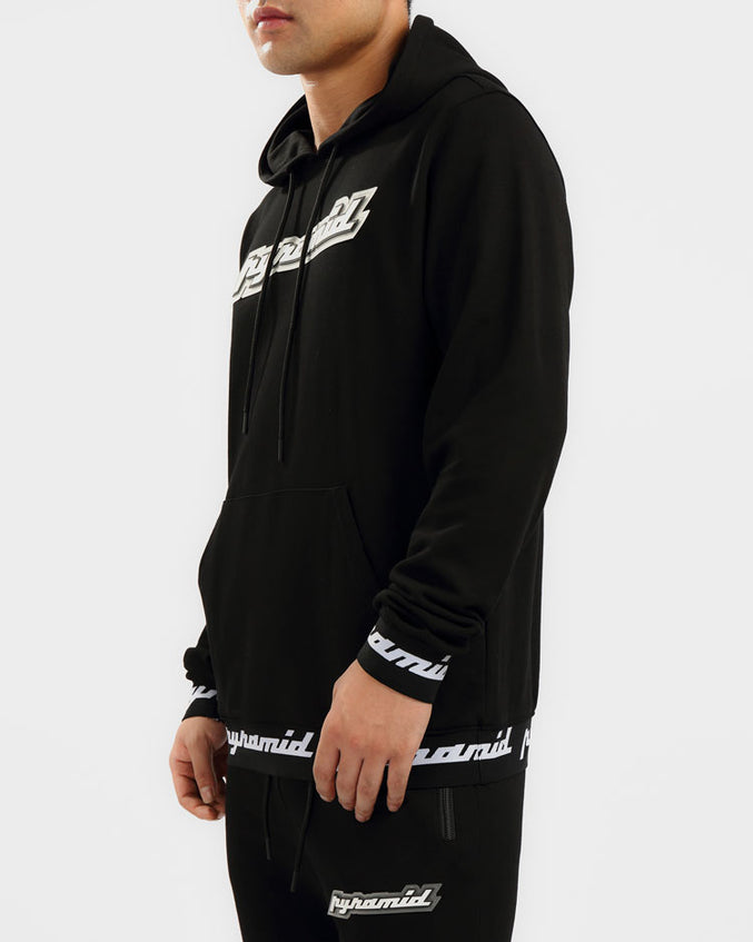 BIG AND TALL CORE 3D RUBBER PATCH HOODY-COLOR: BLACK