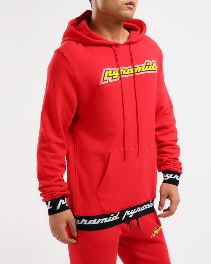 CORE 3D RUBBER PATCH HOODY-COLOR: RED