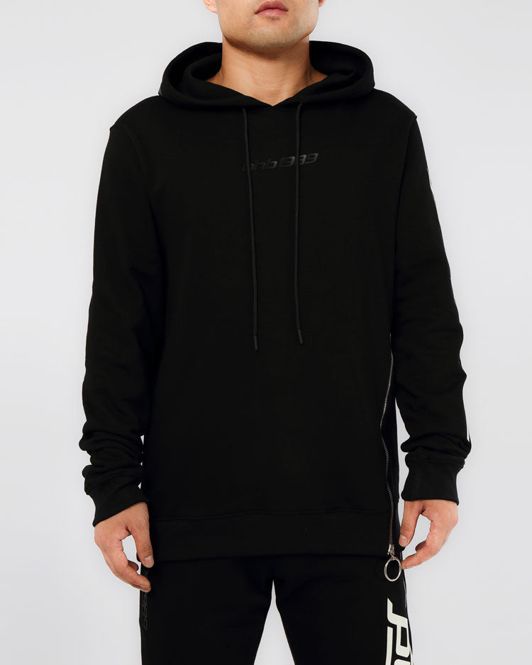 SLANT ZIPPER HOODY-COLOR: BLACK