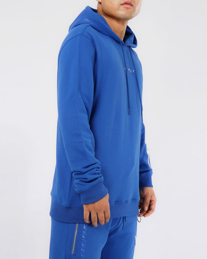 SLANT ZIPPER HOODY-COLOR: BLUE
