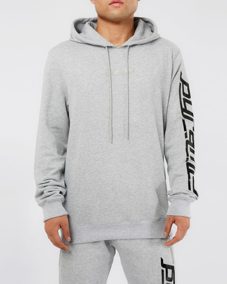 SLANT ZIPPER HOODY-COLOR: HEATHER GRAY