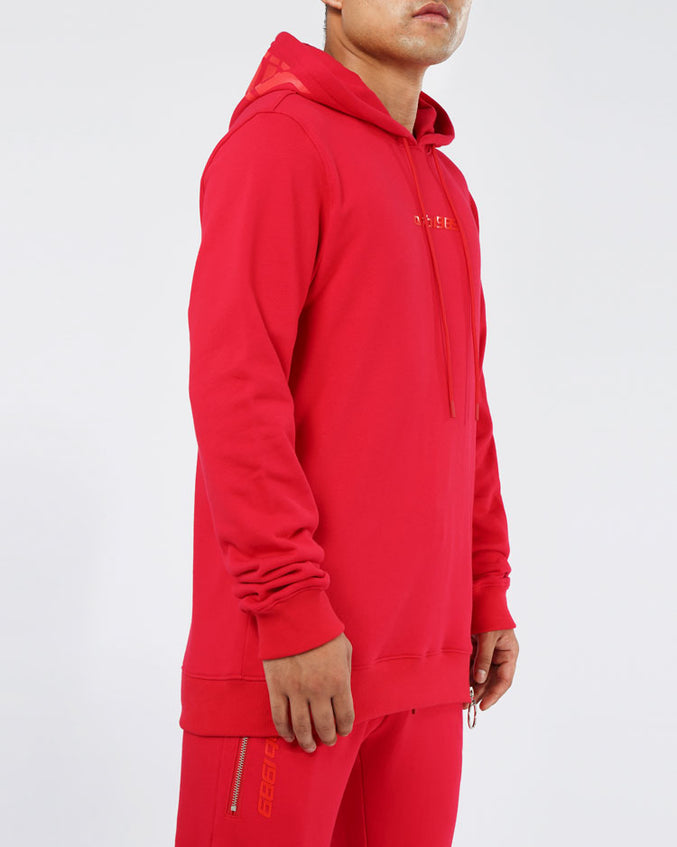 SLANT ZIPPER HOODY-COLOR: RED