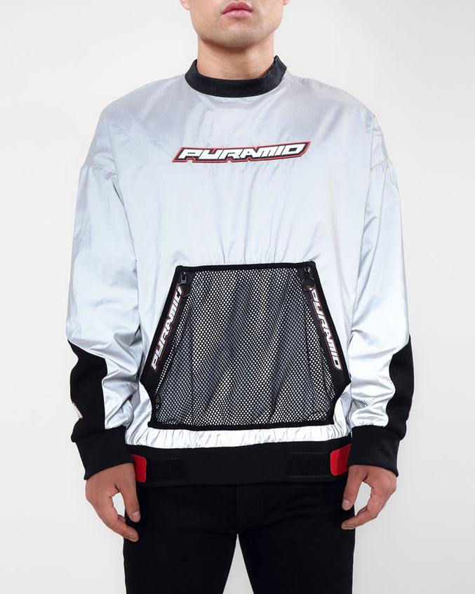 PYRAMID MESH POCKET PULLOVER-COLOR: GRAY