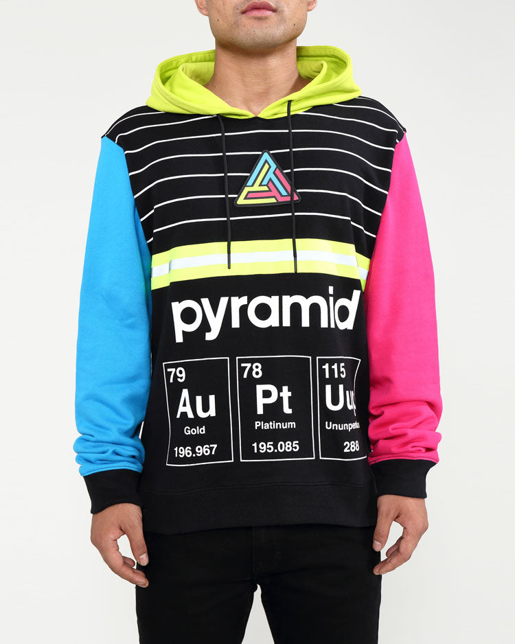 BIG AND TALL PYRAMID ELEMENTS HOODY-COLOR: BLACK