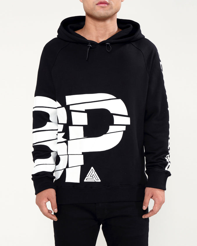 BROKEN GLASS HOODY-COLOR: BLACK