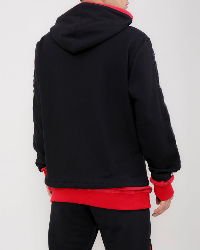 LAYERED ZIP HOODY-COLOR: BLACK