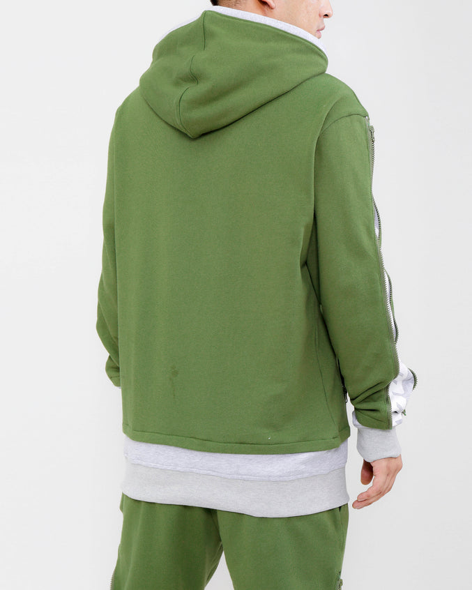 LAYERED ZIP HOODY-COLOR: OLIVE