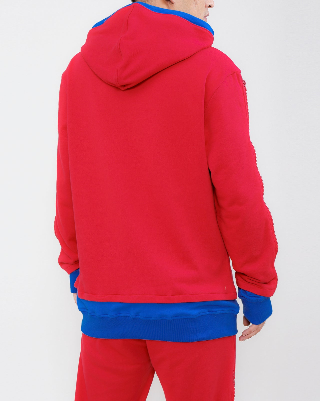 LAYERED ZIP HOODY-COLOR: RED