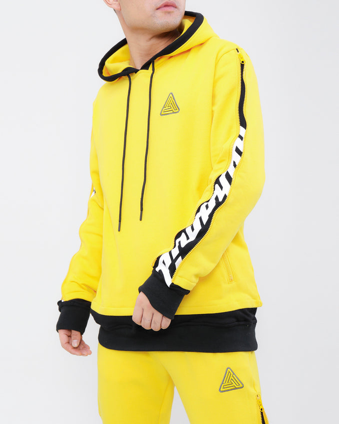 LAYERED ZIP HOODY-COLOR: YELLOW