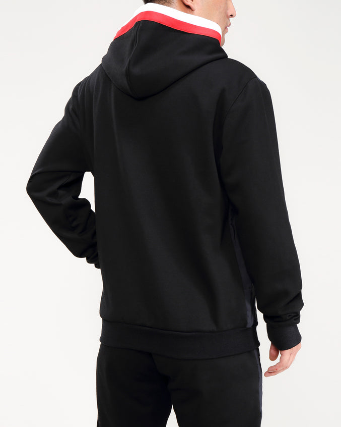 QUILTED NYLON PANEL HOODY-COLOR: BLACK