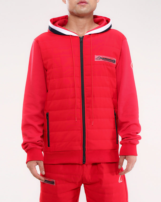 QUILTED NYLON PANEL HOODY-COLOR: RED
