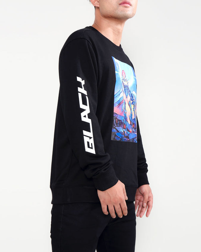MOON GIRL CREWNECK-COLOR: BLACK