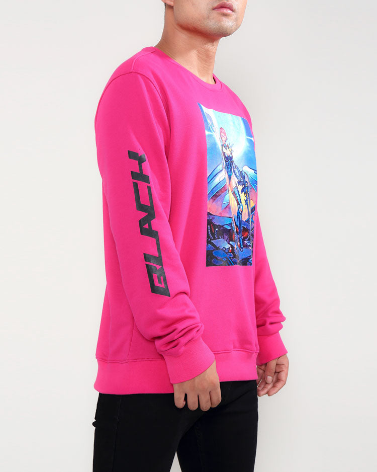 MOON GIRL CREWNECK-COLOR: PINK