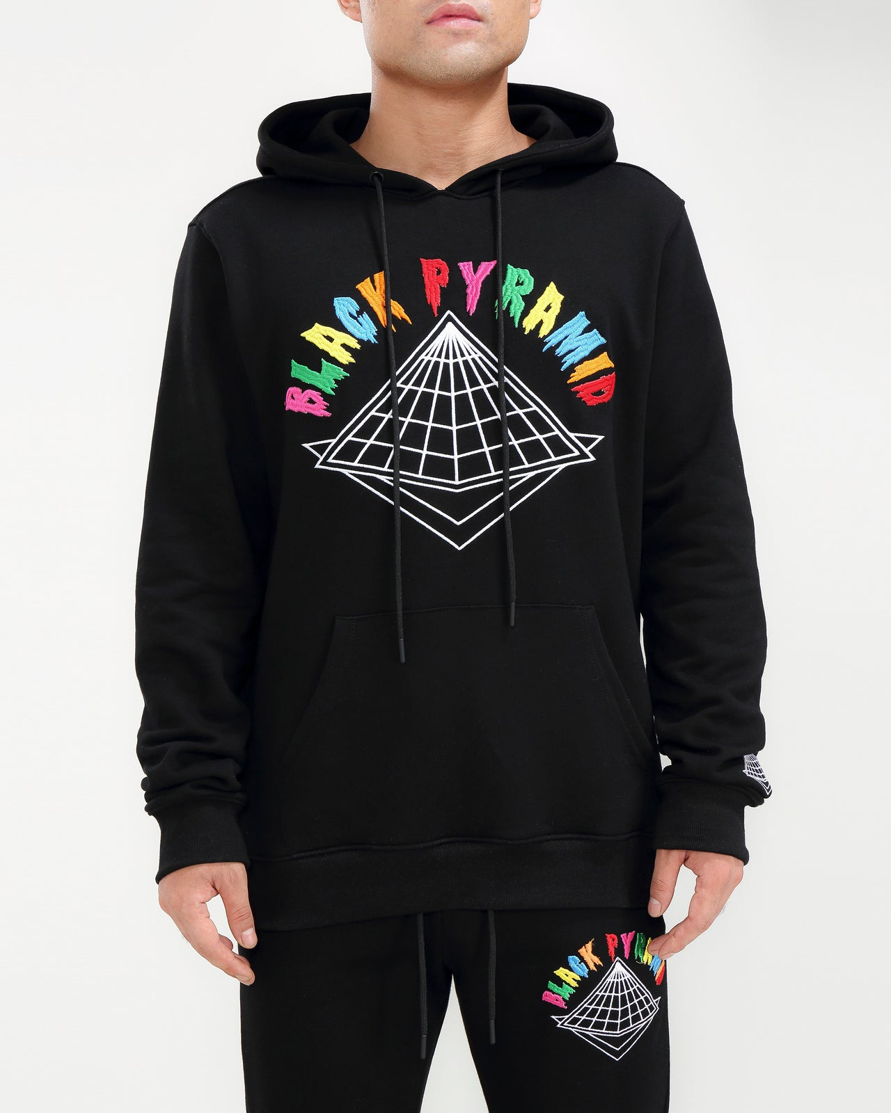 COLORS DRIP LOGO HOODY-COLOR: BLACK