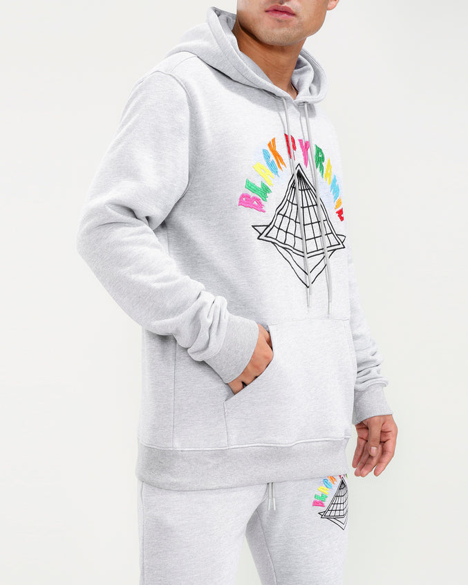 COLORS DRIP LOGO HOODY-COLOR: HEATHER GRAY