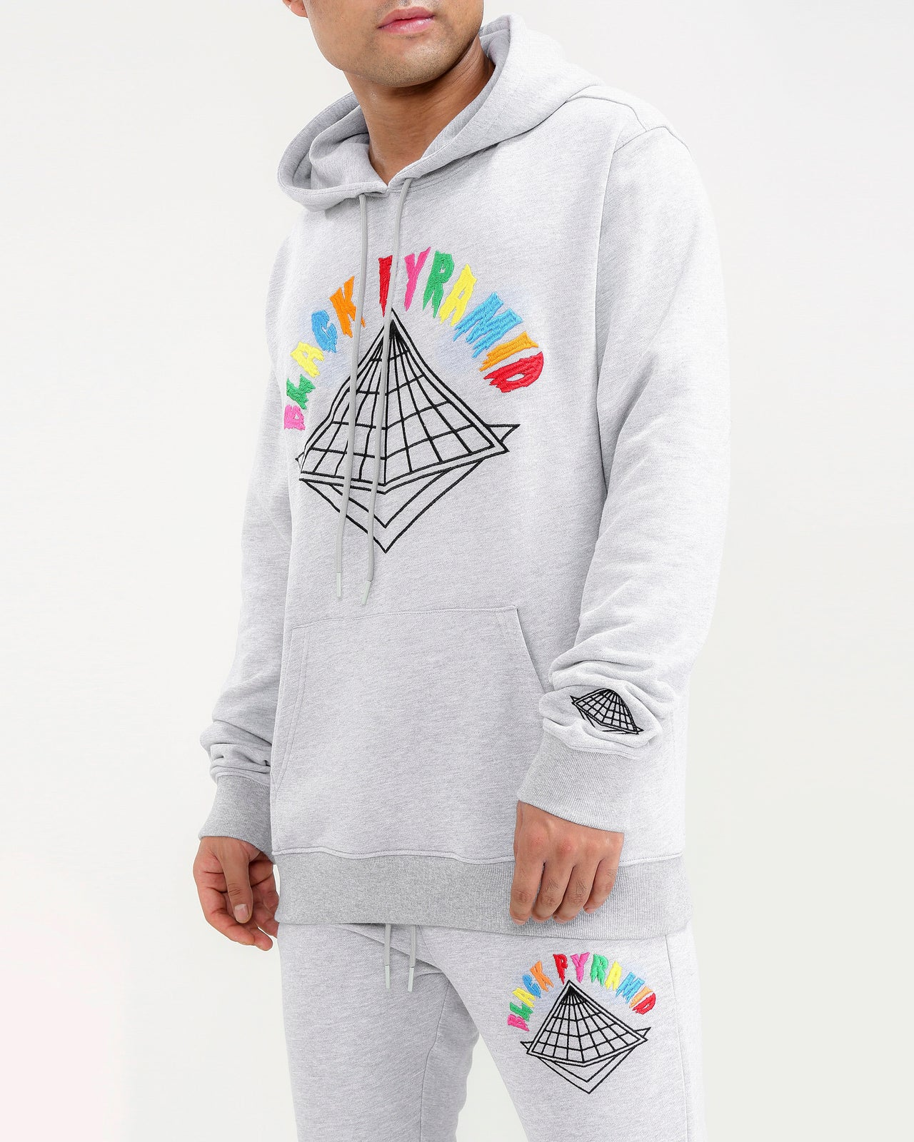 BIG AND TALL COLORS DRIP LOGO HOODY-COLOR: HEATHER GRAY