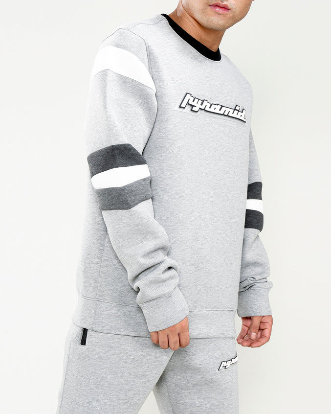 ARTICULATED ELBOW LOGO CREW-COLOR: HEATHER GRAY