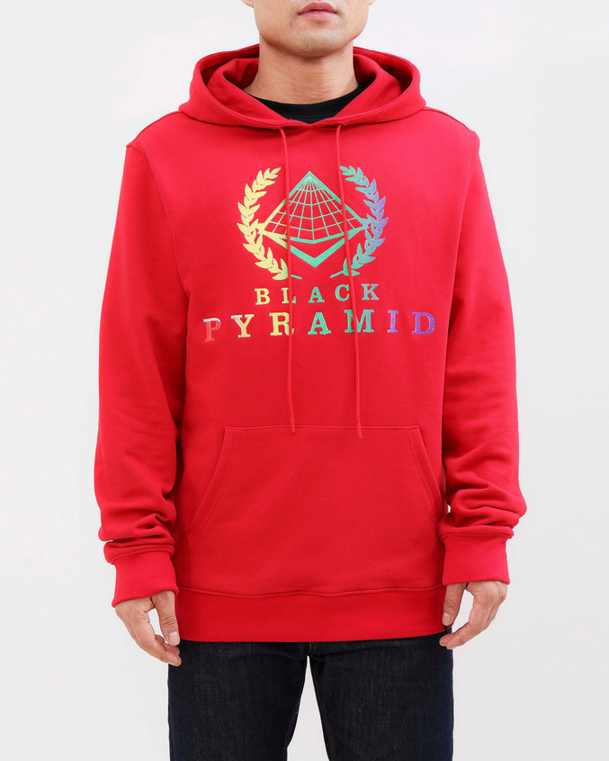 BP CREST RAINBOW HOODY-COLOR: RED