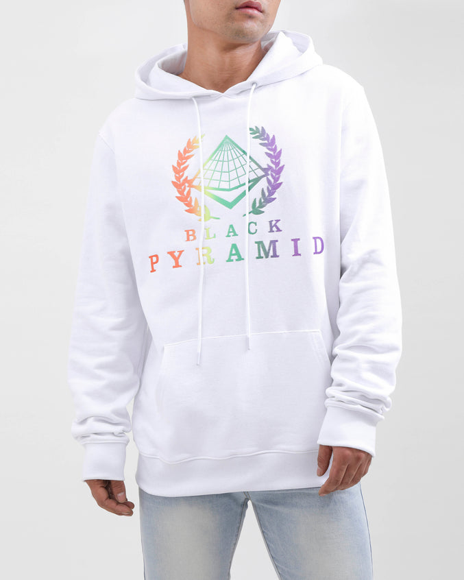 BP CREST RAINBOW HOODY-COLOR: WHITE