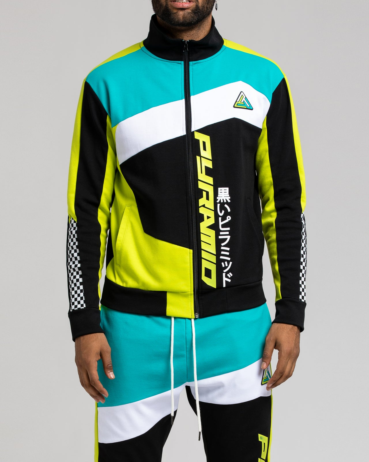 Pyramid ColorBlock Track Jacket - Color: Black