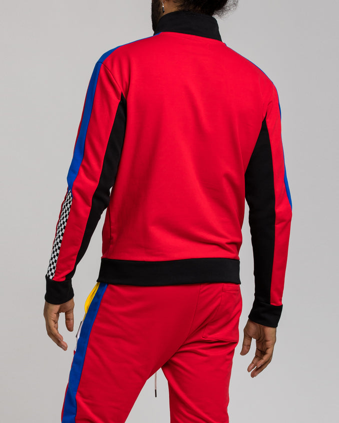 Pyramid ColorBlock Track Jacket - Color: Red