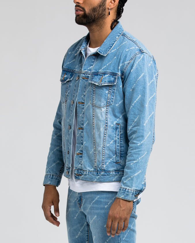 Black Pyramid Denim Jacket - Color: LIGHT WASH