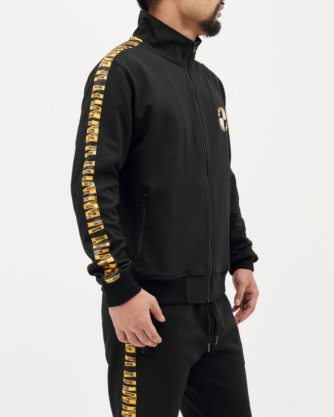 Hazard Tape Logo Track Jacket - Color: BLACK