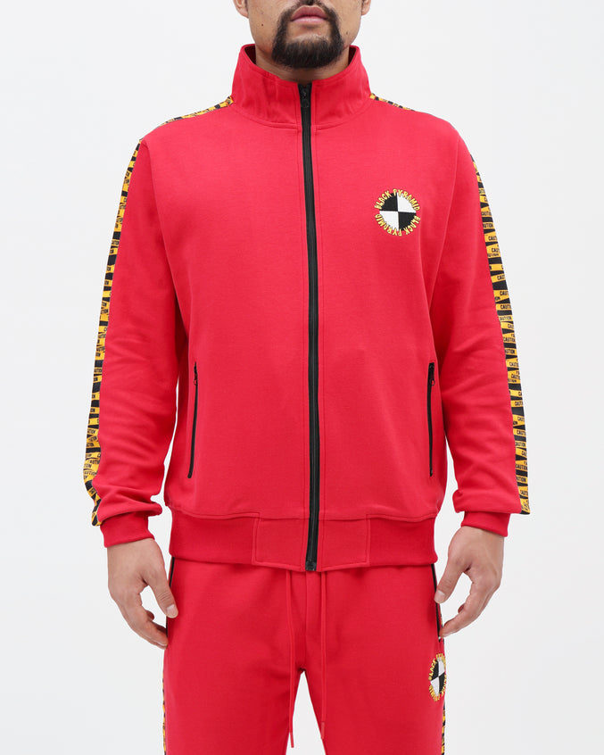 Hazard Tape Logo Track Jacket - Color: RED