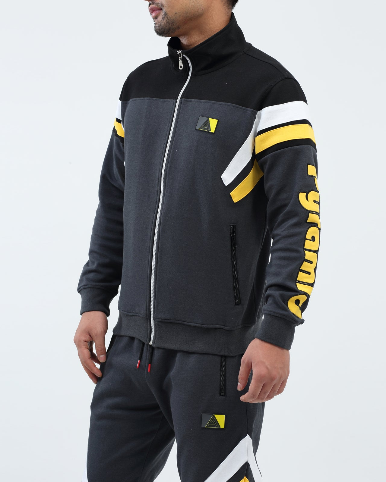 Two Stripes Blocked Track Jacket - Color: Gray