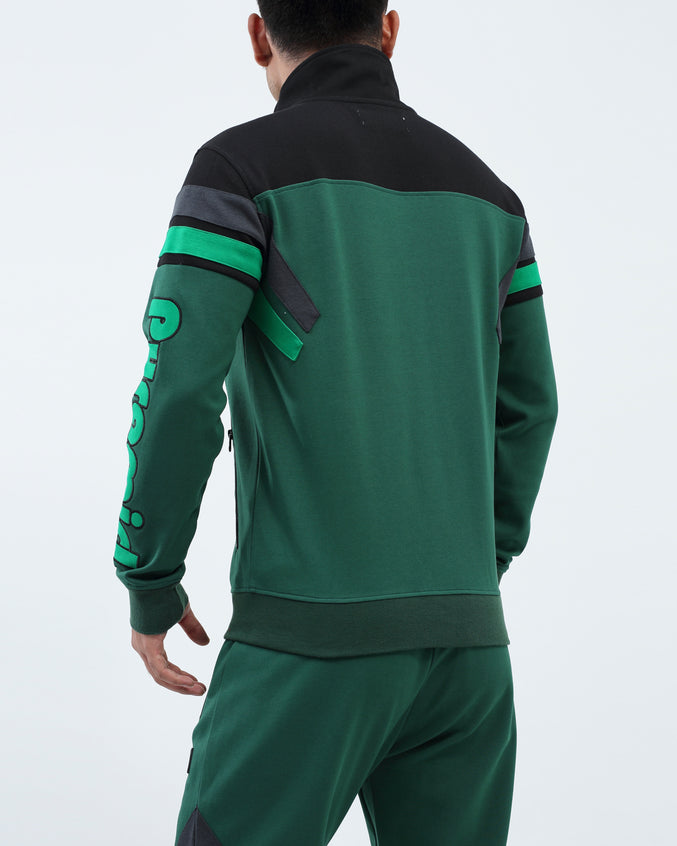 Two Stripes Blocked Track Jacket - Color: Green