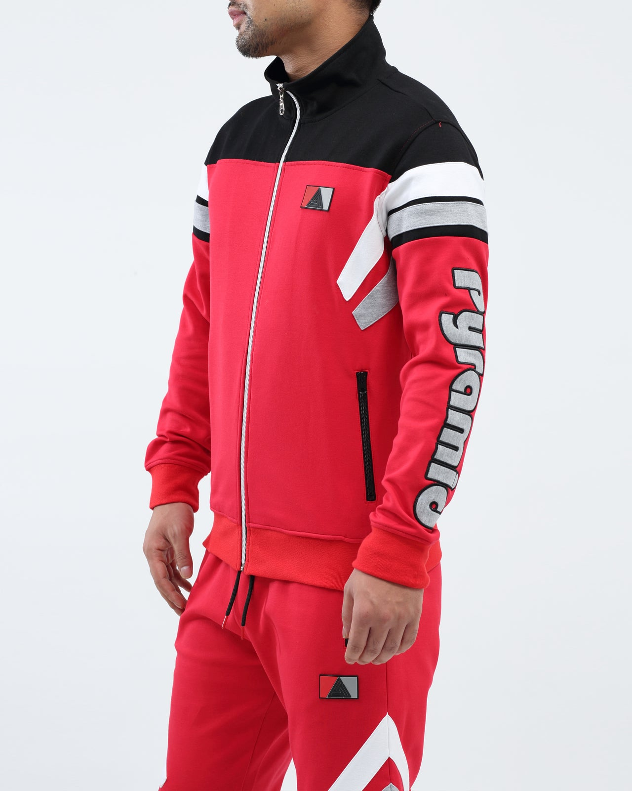 Two Stripes Blocked Track Jacket - Color: Red