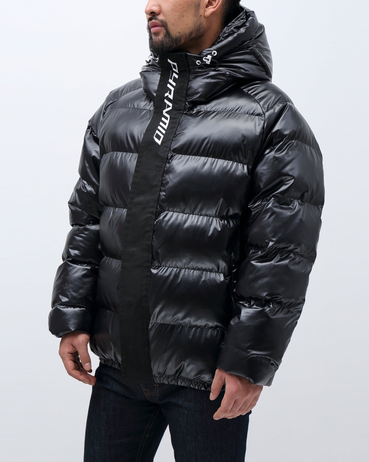 BP Full Zip Taped Placket Puffy Jacket - Color: Black