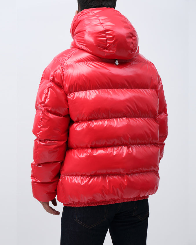 BP Full Zip Taped Placket Puffy Jacket - Color: Red