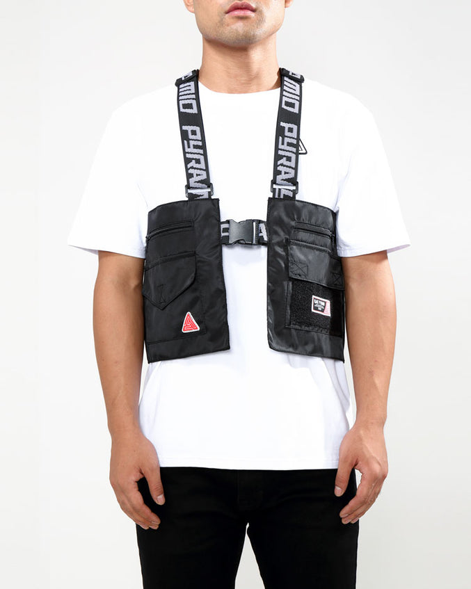SPLINTER SOLID MILITARY VEST-COLOR: BLACK
