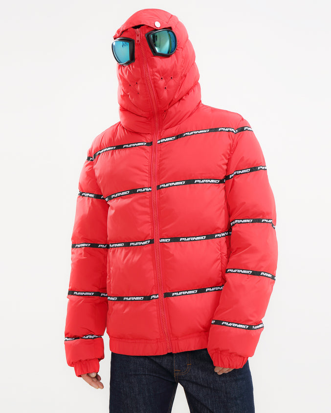 Main Logo Goggle Down Jacket-COLOR: RED