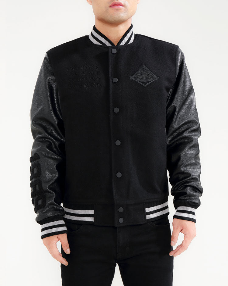 Core Logo Varsity Jacket-COLOR: BLACK